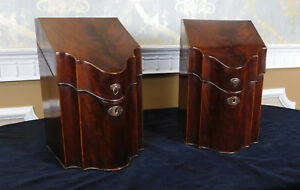 Pair Antique C1830 English Georgian Period Mahogany Knife Boxes