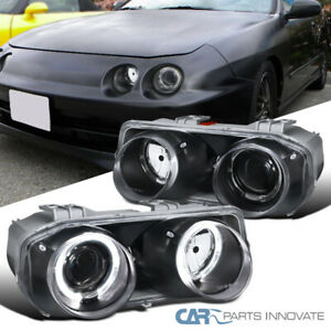 Acura 94 97 Integra Black Dual Halo Projector Headlights Headlamps Left Right