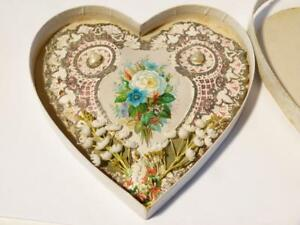 1876 Valentine Card Paper Lace Shell Love Heart Shaped All Original 1