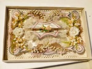 Superb Gorgeous Antique 1876 Silk Paper Lace All Original Sweetheart Card 3