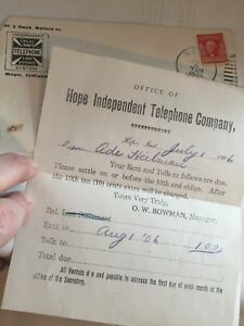 Hope Indiana Independent Telephone Company Phone Bill from 1906