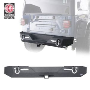 Textured Rock Crawler Rear Bumper W Led Light For 1987 2006 Jeep Wrangler Yj Tj