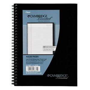 Meadwestvaco 06672 7 1 2 X 9 1 2 Black Cambridge Limited Business Notebook
