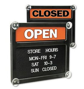 Open Closed Suction Cup Door Sign Changeable Message With Letters