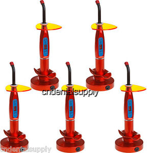 5x Dental 5w Cordless Wireless Led Curing Light Lamp Red Free Shipping