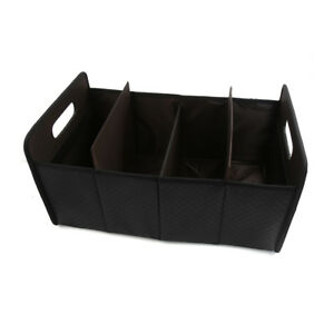 Black Faux Leather Folding Case Car Storage Box Truck Tool Organize Holder