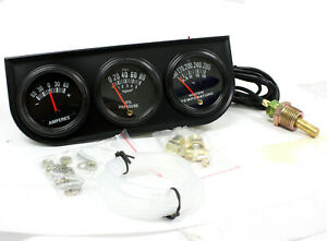 Mechanical Triple Auto Gauge Set For Cars Trucks Amperes Water Oil Pressure Temp