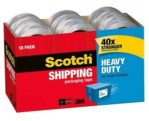 18 Rolls Scotch 3850 Heavy Duty Shipping Packaging Tape 1 88 X 54 6 Yds