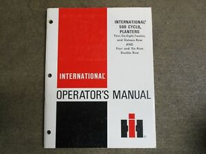 International Harvester 500 Planter Owners Maintenance Manual