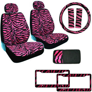 Hot Pink Zebra Print Car Truck Front Seat Covers Steering Wheel Cover Cd Visor