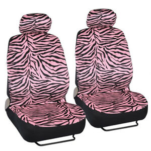 New Safari Pink Zebra Print Car Truck Front Seat Covers With Headrest Covers
