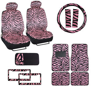 Pink Zebra Print Car Truck Front Seat Covers Floor Mats Steering Wheel Cover Set
