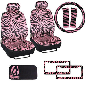 Pink Zebra Print Car Truck Front Seat Covers Steering Wheel Cover Cd Visor Set