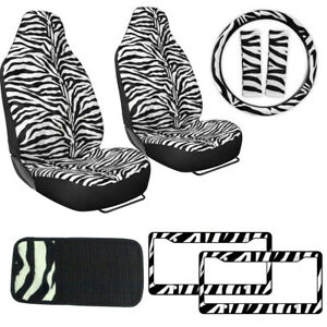 Safari White Zebra Print Car Truck Seat Covers Steering Wheel Cover Cd Visor