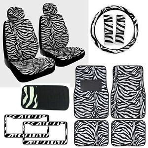Zebra Print Car Truck Front Seat Covers Floor Mats Steering Wheel Cover Set