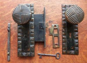 Antique Brass Woven Doorknobs Copper Flashed Doorplates Keyed Lock Set C1900