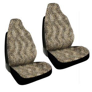 New Safari Tan Beige Cheetah Print Car Truck Front Bucket Seat Covers Set