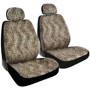 Safari Tan Beige Cheetah Print Car Truck Front Seat Covers With Headrest Covers