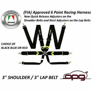 Monza Racing Harness 6 Point Fia Cams Approved Red Black Or Blue
