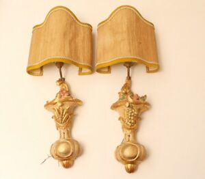 Noble Pair 2x Wall Lamp Rococo Style Wood Elements Gold Plated Encased Antique
