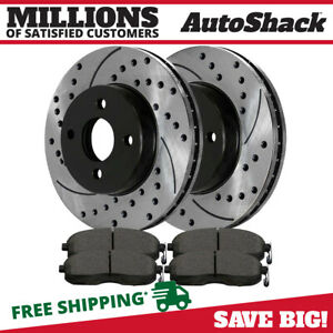 Front 2 Drilled Slotted Rotors 4 Ceramic Brake Pads Fits 07 12 Nissan Sentra