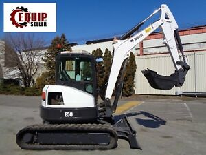 2015 Bobcat E50 Mini Excavator Enclosed Cab Rubber Tracks