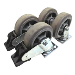 lot Of 4 Industrial Casters 6 X 2 Swivel Locking Galvanized Steel Heavy Duty
