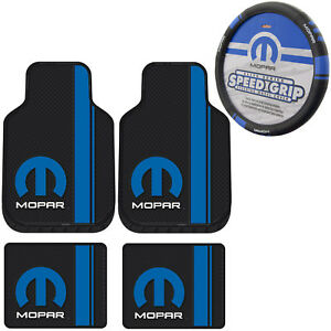 New Blue Mopar Logo Car Truck Front Back Floor Mats Steering Wheel Cover Set