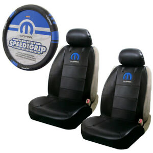 New Blue Mopar Logo Car Truck Front Seat Covers Steering Wheel Cover Set