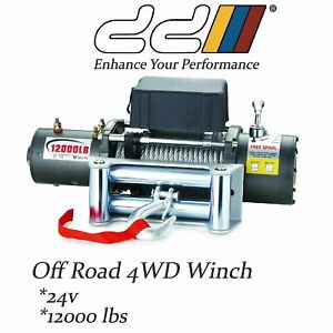 New Dd 12000lb 24v Recovery Electric Winch Wireless Remote Trailer 4wd Suv Jeep