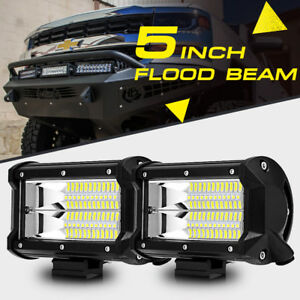 Pair 5 Inch 288w Cree Led Work Light Bar Flood Beam Pods Offroad Truck Suv 4x4wd