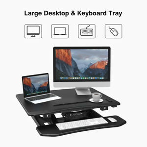 Electric Adjustable Standing Desk Converter Ergonomic Computer Table Workstation