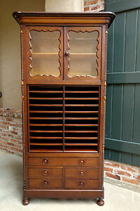 Antique English Mahogany Bookcase Music Office Cabinet Barrister Home Office