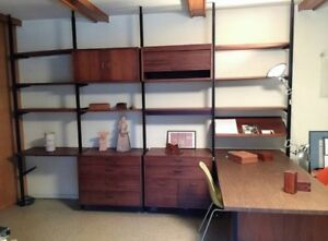 Mid Century Modern George Nelson Omni 4 Bay Floating Suspended Wall Unit Desk