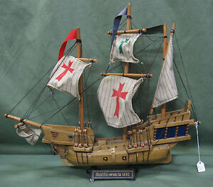 Vintage Collectible Santa Maria 1492 Replica Ship 17 5 H Nautical Decor Model