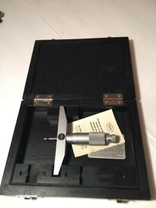 Carl Mahr Depth Micrometer Metric 0 25mm 0 1 Vintage With Original Box