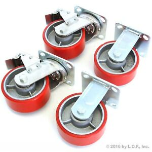 4 Red Wheel Casters Set 5 Wheels Swivel Heavy Duty Iron Hub No Mark 2 Brake New