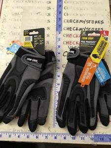 2x Firm Grip Pro Protect Heavy Duty Gloves Touchscreen Fingers Size Large