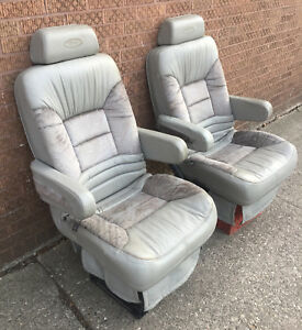 1998 Dodge Dmc Van Gray Leather Vinyl Front Seats Captain Chairs Chevy Ford Gm