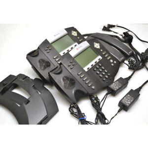 Lot Of 2 Polycom Ip550 Soundpoint Voip Business Telephone W Stands
