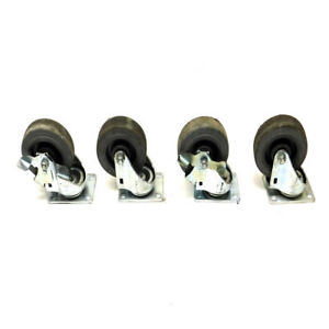 lot Of 4 Triopines Mirage Tp5240 Series Ball Bearing Swivel Casters 2 Brakes