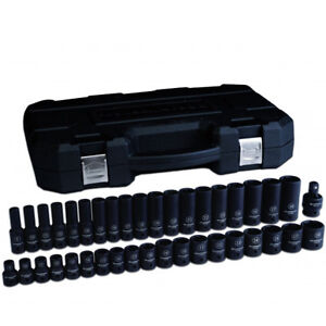 Gearwrench 84948n 39 Pc 1 2 Dr 6 Pt Metric Shallow And Deep Impact Socket Set