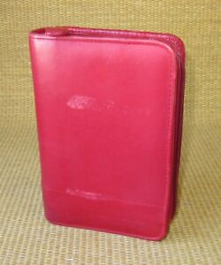 Pocket 1 Rings Red Italian Calfskin Leather Franklin Covey Zip Planner binder