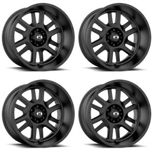 Set 4 18 Vision 419 Split Black Wheels 18x9 5x150 12mm Toyota Tundra Truck Rims