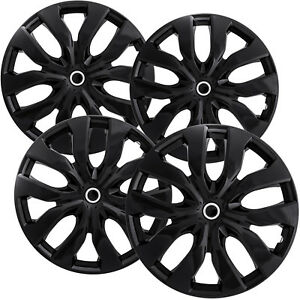 4 Pc Hubcaps Fits Select Auto Truck Suv 15 Ice Black Replacement Wheel Cover