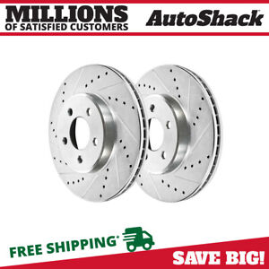 Front Drilled Slotted Disc Brake Rotors Pair 2 For 1994 2004 Ford Mustang 5 0l