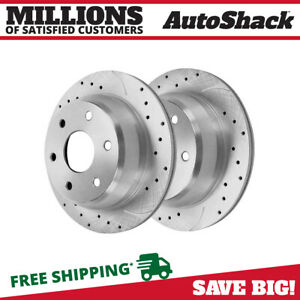 Rear Drilled Slotted Rotors Pair 2 Fits 99 2006 Chevrolet Silverado 1500 56827