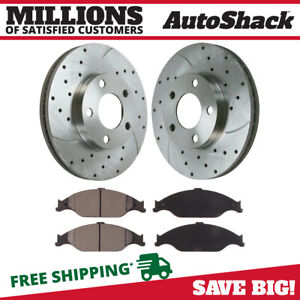 Front Drilled Slotted Rotors And Ceramic Pads For 1999 2004 Ford Mustang Silver