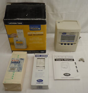 Lathem Totalizing Time Clock Recorder 7000e W Keys Directions Time Cards