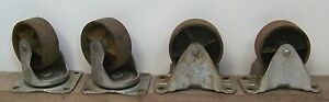 Set 4 Vintage Bassick Industrial 4 Casters 2 Swivel 2 Fixed Cast Iron Wheels
